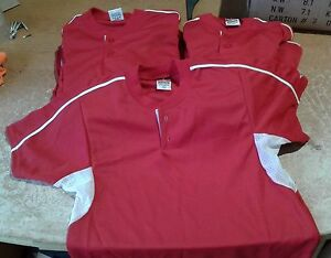 NEW TEAM JERSEY LOT OF 12 DRI FIT YOUTH BLANK BASEBALL 2-BUTTON RED SHIRTS