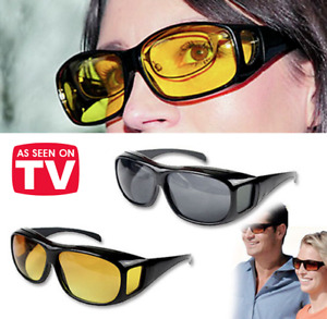 HD Day Night Vision Wraparound Sunglasses As Seen on TV Fit OVER Driving Glasses