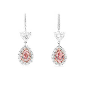 Fancy Pink Diamond Classic Earrings 8.75 Ct Pear Cut Natural 18K White Gold GIA