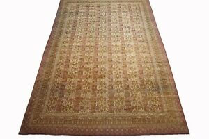 13X19 Antique Indian Agra Rug Hand-Knotted Wool Carpet circa 1890 (13 x 18.8)