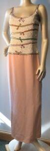 Escada Couture Germany sz 36 pink Designer Gown beaded sequined bows Bin-J
