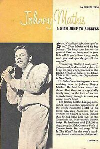 JOHNNY MATHIS 1958 23 YEAR OLD SINGER#x27;S TRACK STAR FEATURE amp; CAREER STORY $25.00