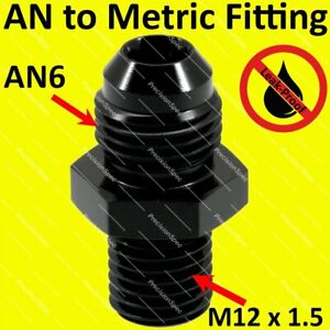 AN6 6AN Aluminium Straight Male Flare to M12x1.5 Metric Fitting Adapter - Black