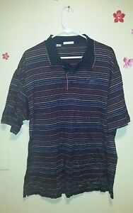 Cutter & Buck Men's Polo Shirt Size Extra Large Black With Multi-colored Stripes