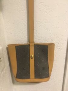 Vintage Mark Cross New York Brown Leather Shoulder bucket Handbag  goldHardware