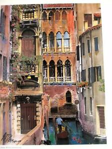 Martin Roberts quot;Canal With Gondolierquot; Hand Signed Lithograph Venice Canal Italy $24.99
