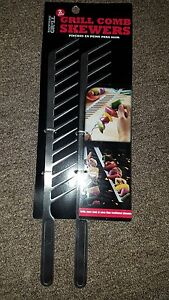 Backyard Grill Comb Skewers, Grill More Food At Once, Hand Wash Only, 2 Per Pack