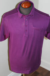 PRE-OWNED MENS UNDER ARMOUR UA GOLF SHIRT SIZE LARGE HEAT GEAR PURPLE MSRP $80