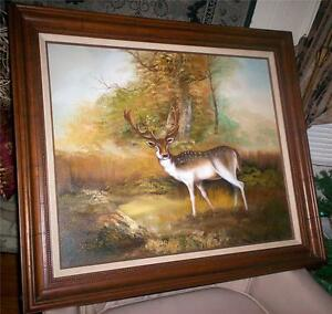 ORIGINAL P. WHITE PAINTING OIL SPOTTED DEER SIGNED 26 x 30 FRAMED