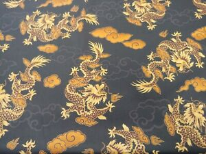 BTY Hoffman Int'l CHINESE DRAGONS 100% Cotton BLACK & GOLD Fabric Metallic