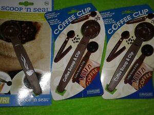 COFFEE SCOOP & BAG CLIP 1 TABLESPOON LOT 3 NEW