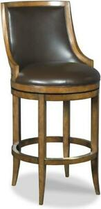 BAR STOOL WOODBRIDGE BROWN LEATHER UPHOLSTERY CURVED BACK SOLID WOOD