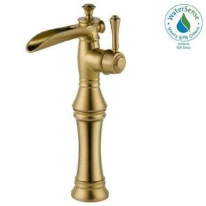 Delta 798LF-CZ Cassidy 1-Hole Waterfall Bathroom Vessel Faucet Champagne Bronze