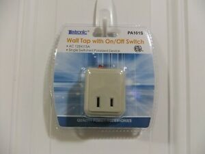 2 Wall Tap Outlet w ON/OFF Switch Power Adapter w/ 2 prong Plug ETL