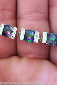 $1633 KALEIDOSCOPE! 10K 21+CT CUSHION RAINBOW MYSTIC TOPAZ DIAMOND BRACELET