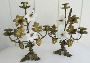 Antique Gilt Brass Candelabra White Glass Flowers Opaline Wheat Grapes Pr Mantel