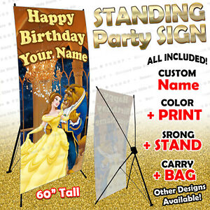 Beauty and Beast Personalized Birthday Party Backdrop Stand Any Name stn