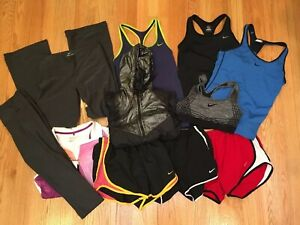 Lot Of 11 NIKE DRI FIT Athletic Workout Womens Small S Tanks Bras Shorts Pants