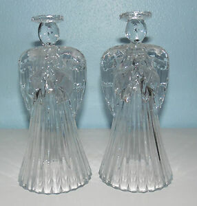 2 American Crystal Collection 24% Lead Crystal Angel Taper Candlestick Holders-