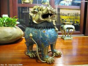 100% Pure Bronze cloisonne 24K Gild palace Foo Dog Lion incense burner Censer