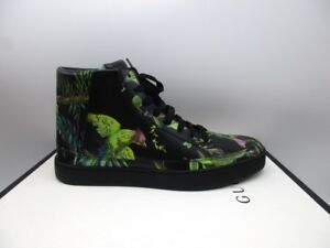 Gucci Black High Top Bird Tropical Sneakers 433719 7.5 G