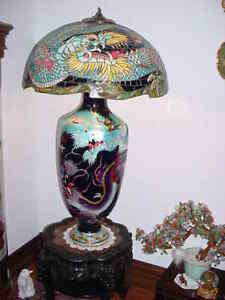 20th CENTURY CHINESE CLOISONNE' ENAMELED & LEADED LAMP