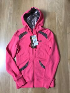Under Armour Semi Fitted Pink & Camo Hoodie Zip up NEW Women's Size S