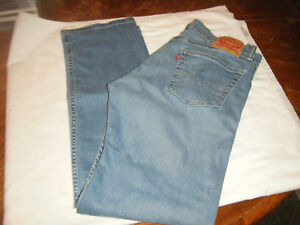 Men#x27;s LEVIS 505 Zip Fly actual 35x31 Light Faded destroyed above knees Boot Cut