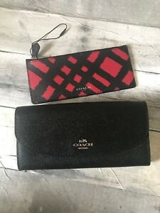 Coach Envelope Black Wallet With Black Red Insert Coach item F23453