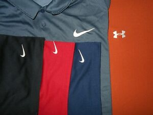 Lot 5 Nike Under Armour Dri-Fit Fit-Dry Mens Polo Shirts XX Large XXL 2 NWOT