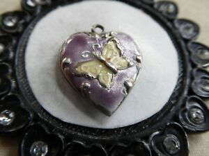 Vtg Sterling Gorgeous 40s Variegated Lavender Puffy Heart Charm Yellow Butterfly