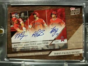 2019 Topps 2018 Now Review Trout Pujols Ohtani Cer Auto ***FAKE AUTO NOT REAL***