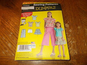 Simplicity Pattern 1455 Girls SEWING FOR DUMMIES Top Skirt Crop Pants amp; Shorts $1.75