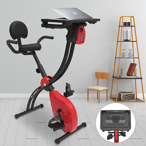 Foldable Stationary Exercise Magnetic Resistance Fitness Bike with Laptop Desk