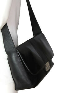Vintage Mark Cross New York Black Leather Shoulder Crossbody Front Flap Bag