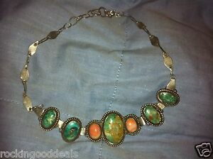 Native American Turquoise & Silver - Kaleidoscope Bracelet or Choker Necklace