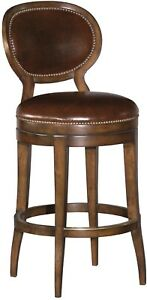 COUNTER STOOL WOODBRIDGE OVAL BACK ARMLESS BROWN LEATHER SANTA FE WOOD BRASS