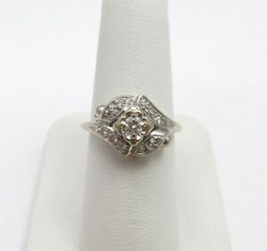 14K White Gold ~14CTW Diamond Art Deco Style Cluster Ring Size 5 34