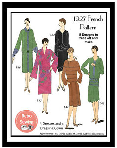 1920#x27;s Flapper Dresses and Dressing Gown Vintage French Sewing Pattern GBP 9.99