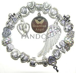Authentic PANDORA Bracelet 925 Silver with GUARDIAN ANGEL WHITE European Charms