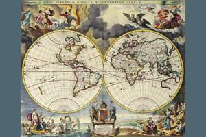 Antique World Map Double Helix 1680 inch Poster 24x36 inch
