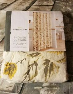 NEW! Target Threshold Yellow Gray Fall Floral Shower Curtain 72