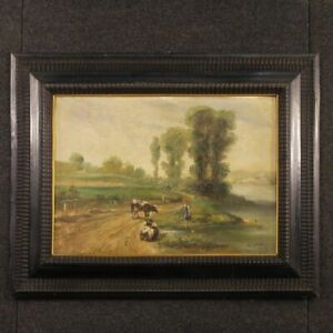 Painting framework oil on canvas frame French signed landscape antique style 900