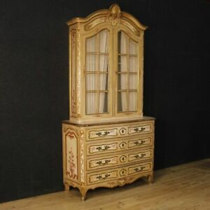 Showcase bookcase lacquered furniture cabinet French wood painted antique style