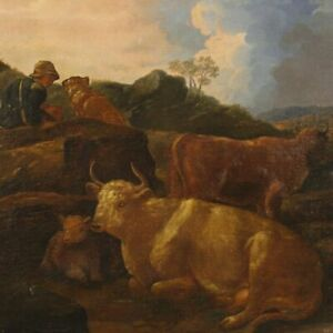 Painting antique painting italian oil on canvas paesaggio cows frame 800 art