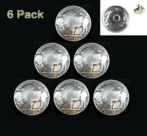 LOT OF 6 PCS BUFFALO NICKLE 5 CENT COIN REPRODUCTION CONCHOS BS 9181 B