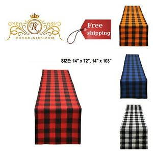 Plaid Checkered Table Runners Linens Dresser Scarf Decor Buffalo Cotton Dining