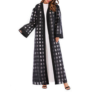1pc Clothes Fashion Gingham Loose Dubai Dress Clothes Maxi Robe for Women Ladies