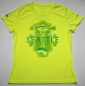 BROOKS Women's XL Yellow Green Running Jog Exercise Shirt Seattle Marathon New