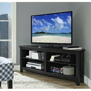 Corner TV Stand Home Living Room Black Entertainment Wood Furniture Console New